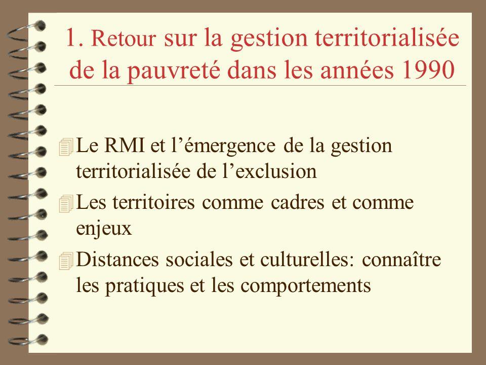 1. Retour sur la gestion territorialisée de la pauvreté dans les années 1990 4 Le RMI et lémergence de la gestion territorialisée de lexclusion 4 Les