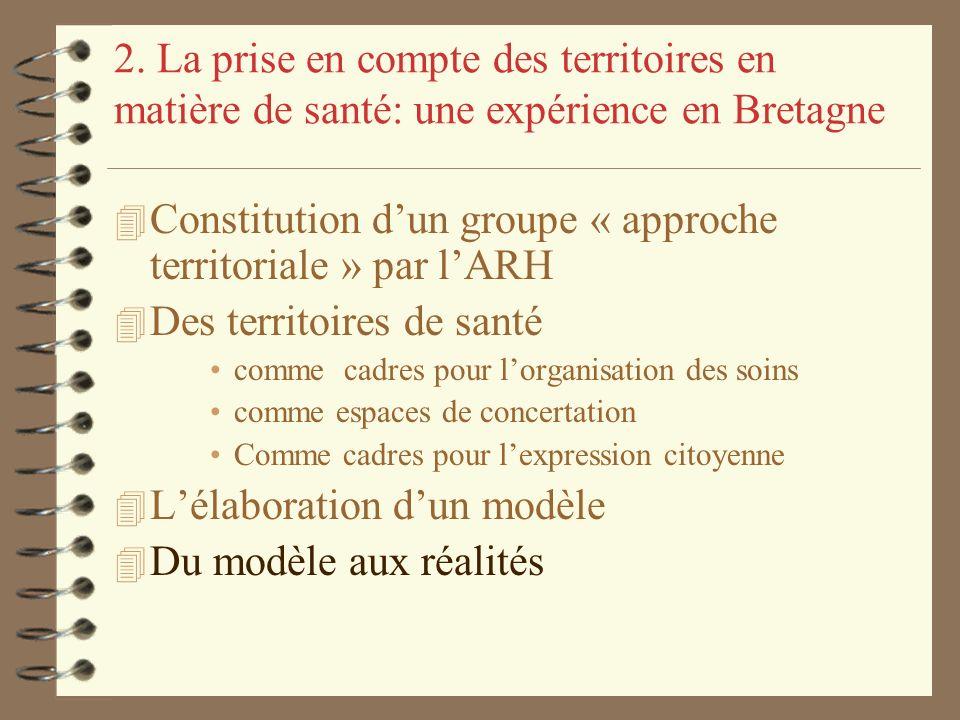 2. La prise en compte des territoires en matière de santé: une expérience en Bretagne 4 Constitution dun groupe « approche territoriale » par lARH 4 D