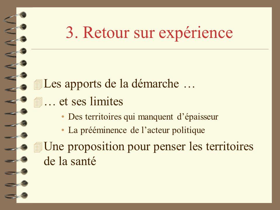 3. Retour sur expérience 4 Les apports de la démarche … 4 … et ses limites Des territoires qui manquent dépaisseur La prééminence de lacteur politique