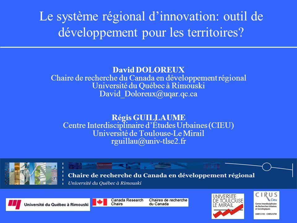 Le système régional dinnovation: outil de développement pour les territoires.