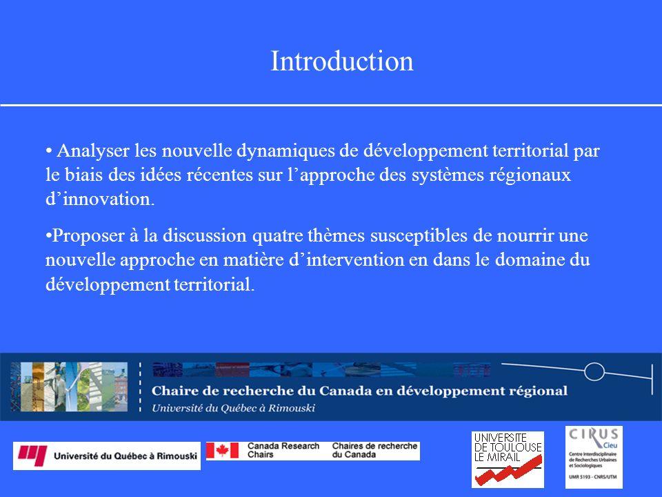 Introduction Analyser les nouvelle dynamiques de développement territorial par le biais des idées récentes sur lapproche des systèmes régionaux dinnovation.