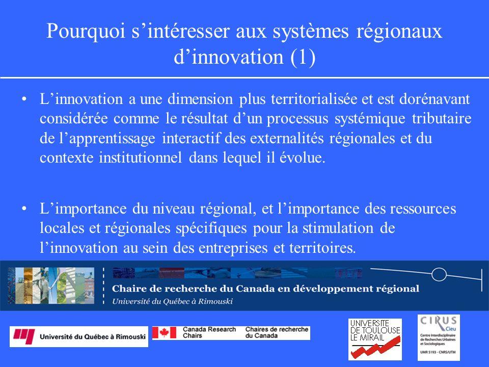 Pourquoi sintéresser aux systèmes régionaux dinnovation (1) Linnovation a une dimension plus territorialisée et est dorénavant considérée comme le résultat dun processus systémique tributaire de lapprentissage interactif des externalités régionales et du contexte institutionnel dans lequel il évolue.