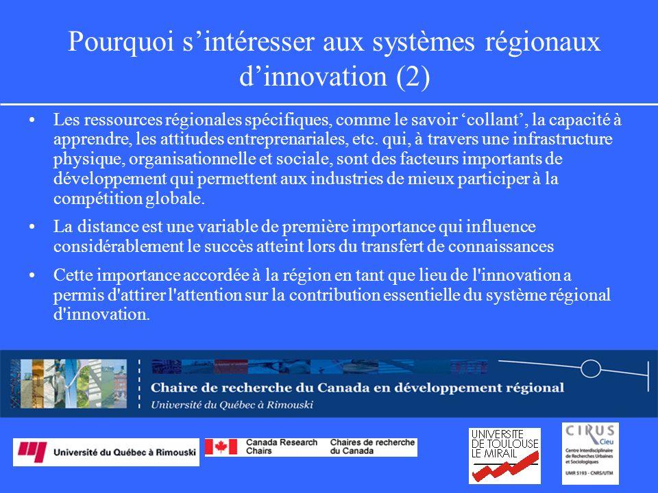 Pourquoi sintéresser aux systèmes régionaux dinnovation (2) Les ressources régionales spécifiques, comme le savoir collant, la capacité à apprendre, les attitudes entreprenariales, etc.
