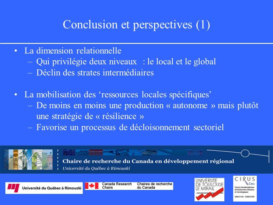 Conclusion et perspectives (1) La dimension relationnelle –Qui privilégie deux niveaux : le local et le global –Déclin des strates intermédiaires La mobilisation des ressources locales spécifiques –De moins en moins une production « autonome » mais plutôt une stratégie de « résilience » –Favorise un processus de décloisonnement sectoriel