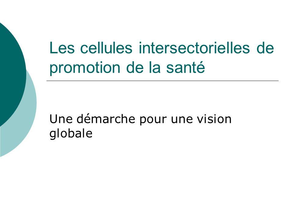 Les cellules intersectorielles de promotion de la santé Une démarche pour une vision globale