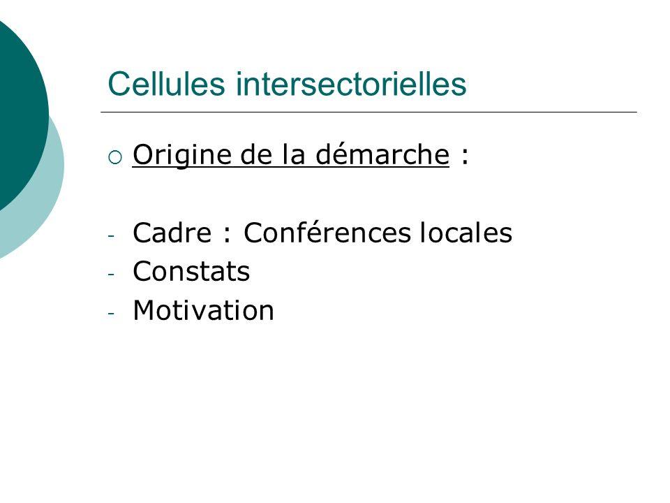 Cellules intersectorielles Origine de la démarche : - Cadre : Conférences locales - Constats - Motivation