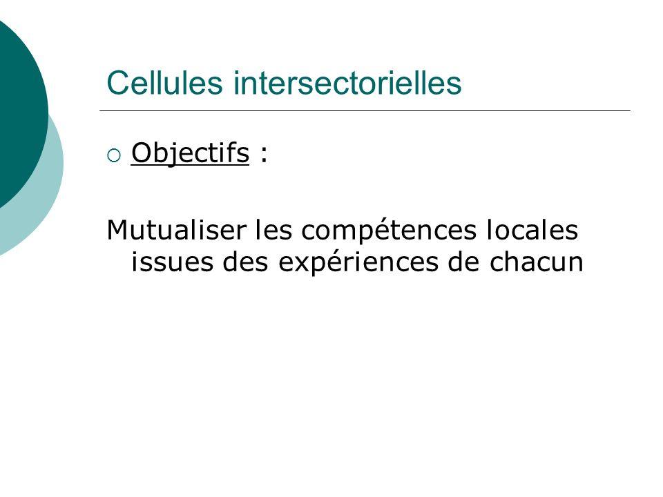 Cellules intersectorielles Objectifs : Mutualiser les compétences locales issues des expériences de chacun