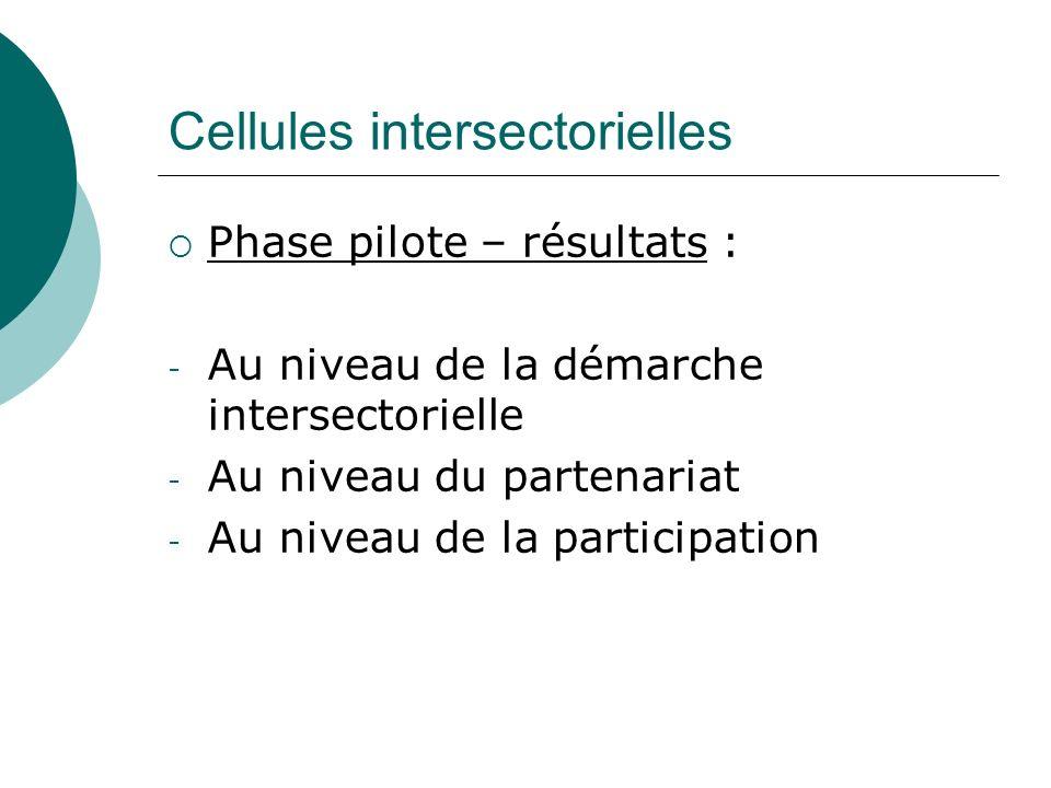 Cellules intersectorielles Phase pilote – résultats : - Au niveau de la démarche intersectorielle - Au niveau du partenariat - Au niveau de la partici