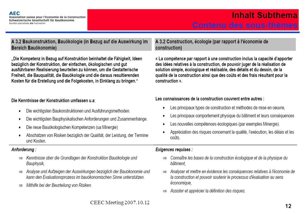 CEEC Meeting 2007.10.12 12 Inhalt Subthema Contenu des sous-thèmes