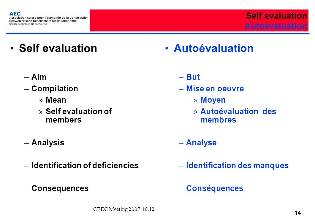 CEEC Meeting Self evaluation Autoévaluation Self evaluation –Aim –Compilation »Mean »Self evaluation of members –Analysis –Identification of deficiencies –Consequences Autoévaluation –But –Mise en oeuvre »Moyen »Autoévaluation des membres –Analyse –Identification des manques –Conséquences