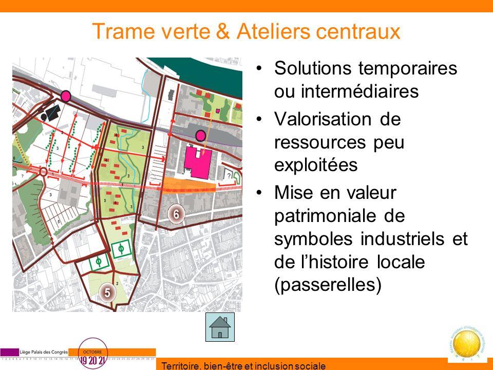 Territoire, bien-être et inclusion sociale Trame verte & Ateliers centraux Solutions temporaires ou intermédiaires Valorisation de ressources peu expl