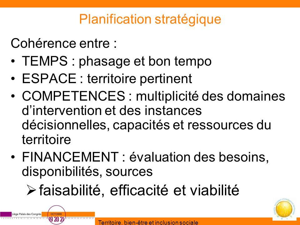 Territoire, bien-être et inclusion sociale Planification stratégique Cohérence entre : TEMPS : phasage et bon tempo ESPACE : territoire pertinent COMP