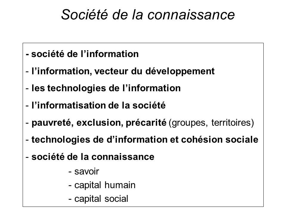 Société de la connaissance - société de linformation - linformation, vecteur du développement - les technologies de linformation - linformatisation de la société - pauvreté, exclusion, précarité (groupes, territoires) - technologies de dinformation et cohésion sociale - société de la connaissance - savoir - capital humain - capital social