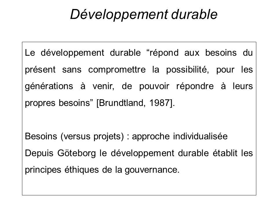 Développement durable Le développement durable répond aux besoins du présent sans compromettre la possibilité, pour les générations à venir, de pouvoir répondre à leurs propres besoins [Brundtland, 1987].
