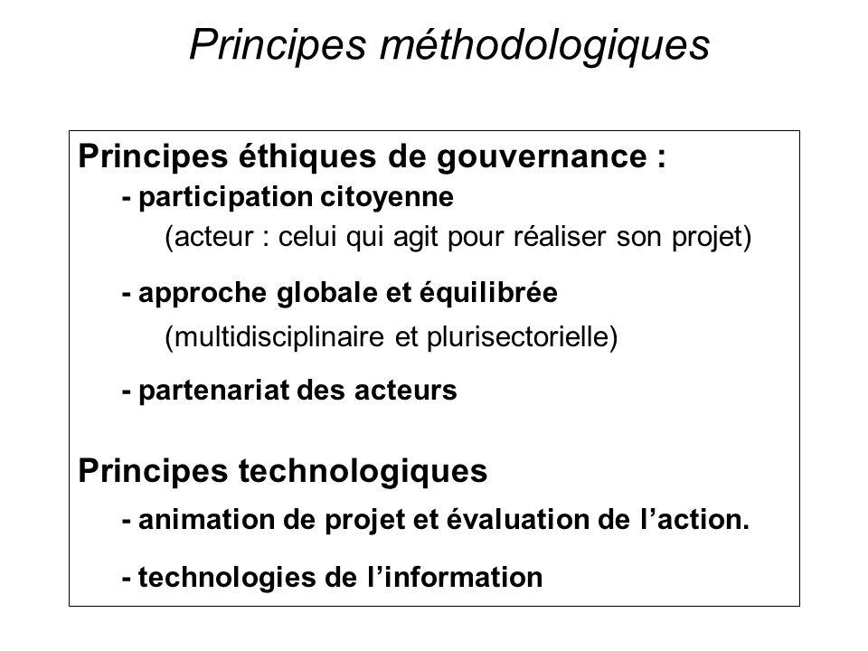Principes méthodologiques Principes éthiques de gouvernance : - participation citoyenne (acteur : celui qui agit pour réaliser son projet) - approche globale et équilibrée (multidisciplinaire et plurisectorielle) - partenariat des acteurs Principes technologiques - animation de projet et évaluation de laction.
