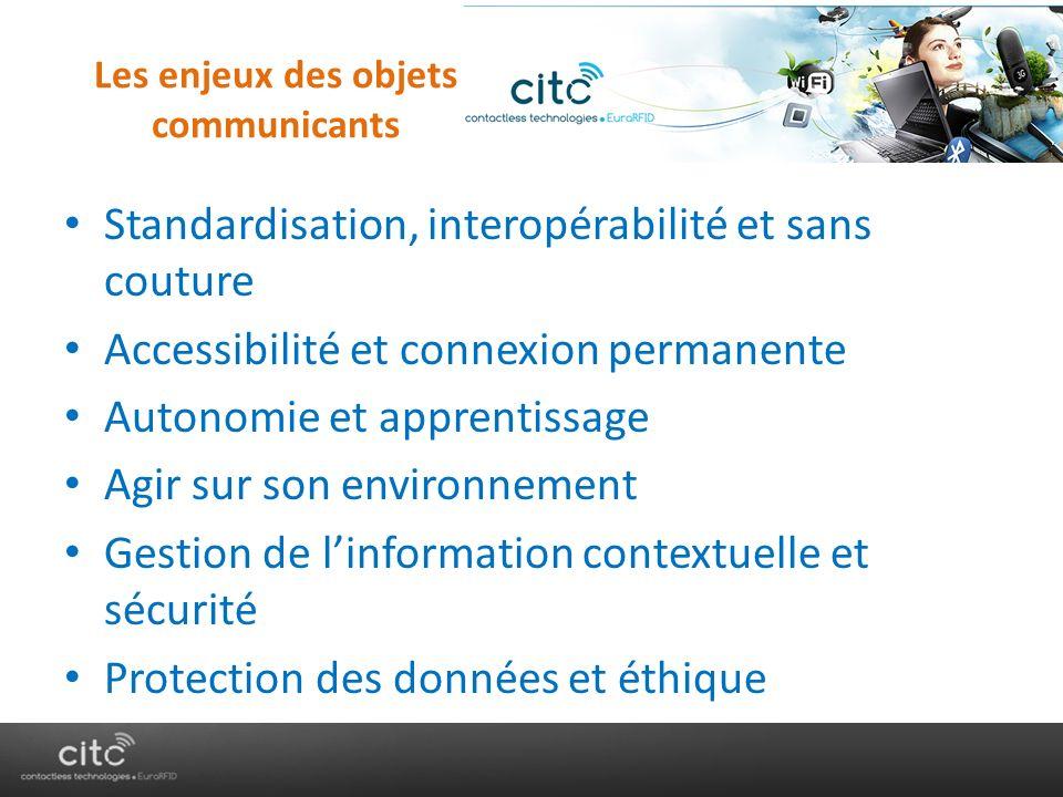 Les enjeux des objets communicants Standardisation, interopérabilité et sans couture Accessibilité et connexion permanente Autonomie et apprentissage