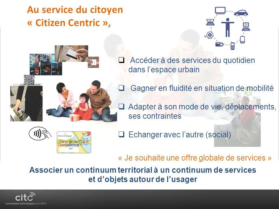 « AnyTime, AnyWhere, AnyDevice » Ubiquité Au service du citoyen « Citizen Centric », Accéder à des services du quotidien dans lespace urbain Gagner en