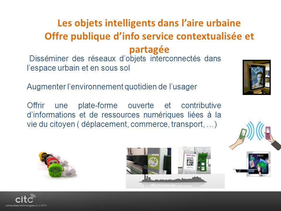 Les objets intelligents dans laire urbaine Offre publique dinfo service contextualisée et partagée Disséminer des réseaux dobjets interconnectés dans