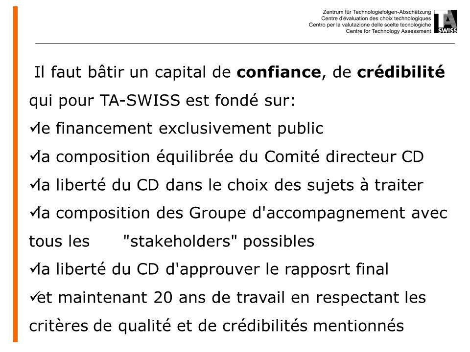 www.oeko.de Il faut bâtir un capital de confiance, de crédibilité qui pour TA-SWISS est fondé sur: le financement exclusivement public la composition