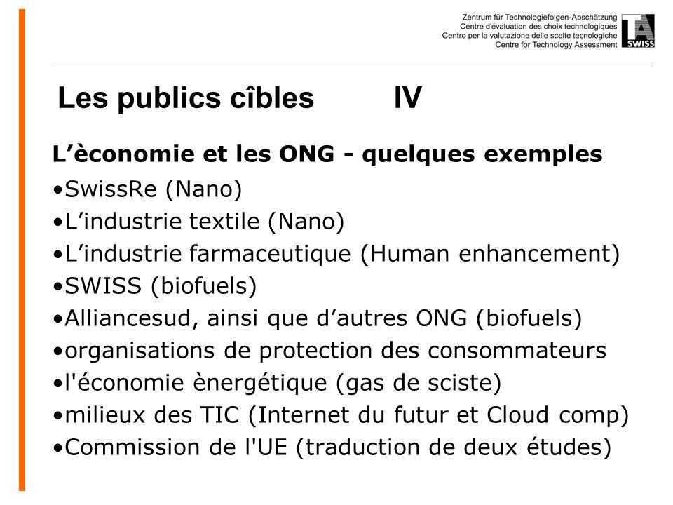 www.oeko.de Les publics cîbles IV Lèconomie et les ONG - quelques exemples SwissRe (Nano) Lindustrie textile (Nano) Lindustrie farmaceutique (Human enhancement) SWISS (biofuels) Alliancesud, ainsi que dautres ONG (biofuels) organisations de protection des consommateurs l économie ènergétique (gas de sciste) milieux des TIC (Internet du futur et Cloud comp) Commission de l UE (traduction de deux études)