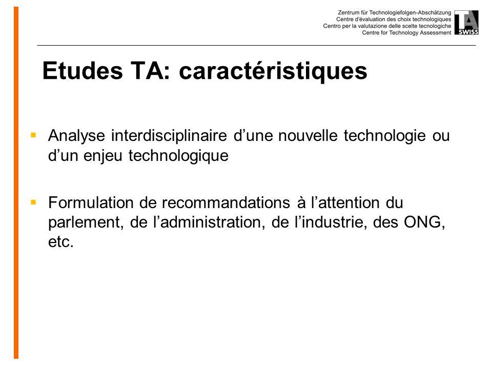 www.oeko.de Etudes TA: caractéristiques Analyse interdisciplinaire dune nouvelle technologie ou dun enjeu technologique Formulation de recommandations à lattention du parlement, de ladministration, de lindustrie, des ONG, etc.