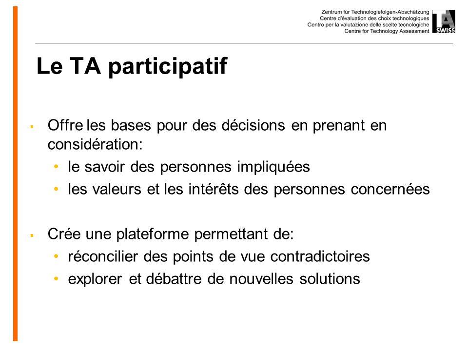 www.oeko.de Le TA participatif Offre les bases pour des décisions en prenant en considération: le savoir des personnes impliquées les valeurs et les intérêts des personnes concernées Crée une plateforme permettant de: réconcilier des points de vue contradictoires explorer et débattre de nouvelles solutions