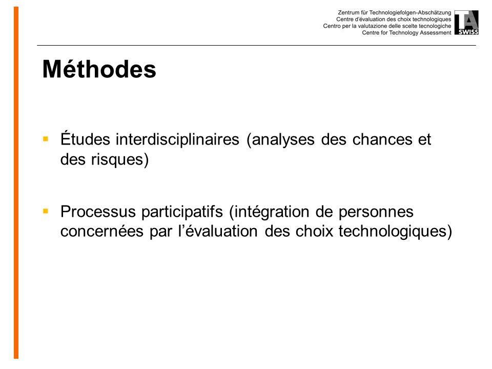 www.oeko.de Méthodes Études interdisciplinaires (analyses des chances et des risques) Processus participatifs (intégration de personnes concernées par lévaluation des choix technologiques)