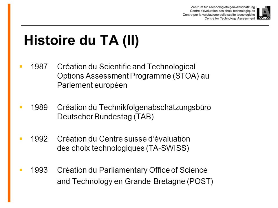 www.oeko.de Histoire du TA (II) 1987Création du Scientific and Technological Options Assessment Programme (STOA) au Parlement européen 1989Création du Technikfolgenabschätzungsbüro Deutscher Bundestag (TAB) 1992Création du Centre suisse dévaluation des choix technologiques (TA-SWISS) 1993Création du Parliamentary Office of Science and Technology en Grande-Bretagne (POST)