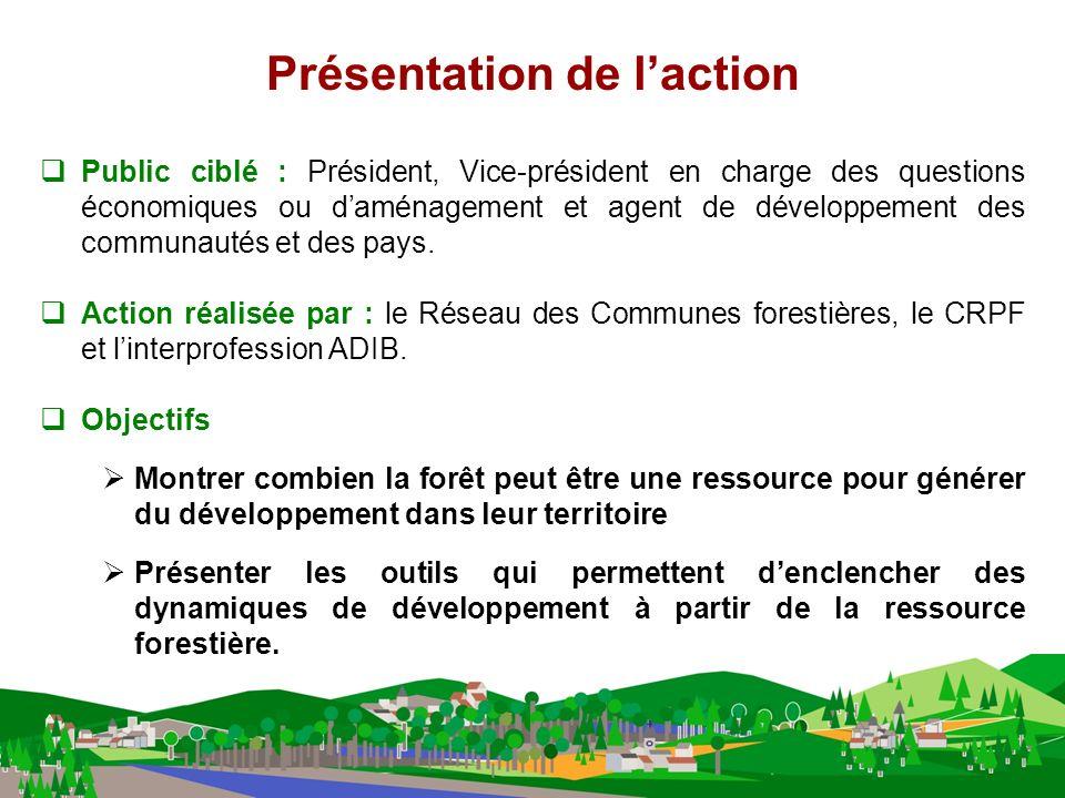 Public ciblé : Président, Vice-président en charge des questions économiques ou daménagement et agent de développement des communautés et des pays.