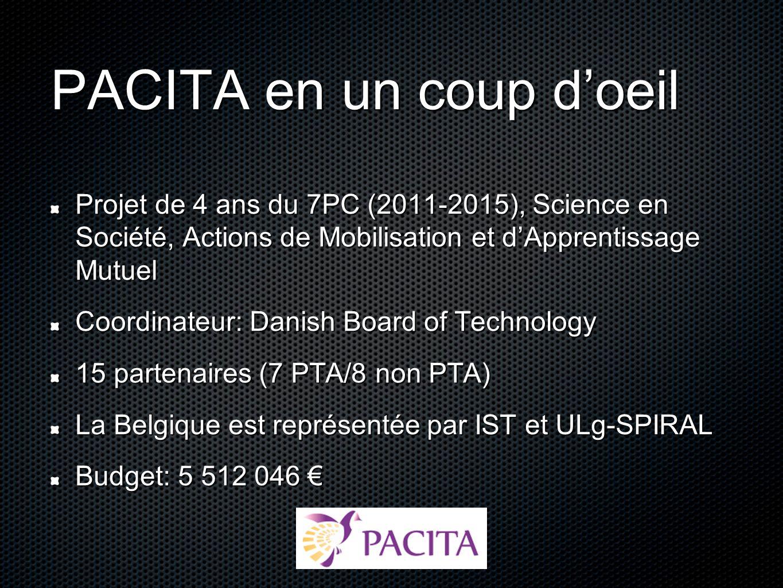 PACITA en un coup doeil Projet de 4 ans du 7PC (2011-2015), Science en Société, Actions de Mobilisation et dApprentissage Mutuel Coordinateur: Danish Board of Technology 15 partenaires (7 PTA/8 non PTA) La Belgique est représentée par IST et ULg-SPIRAL Budget: 5 512 046 Budget: 5 512 046