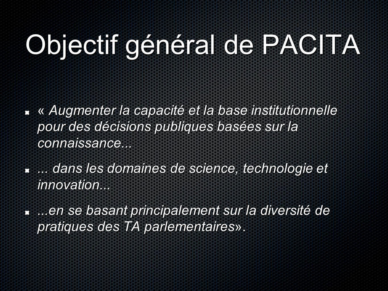 Objectif général de PACITA « Augmenter la capacité et la base institutionnelle pour des décisions publiques basées sur la connaissance......
