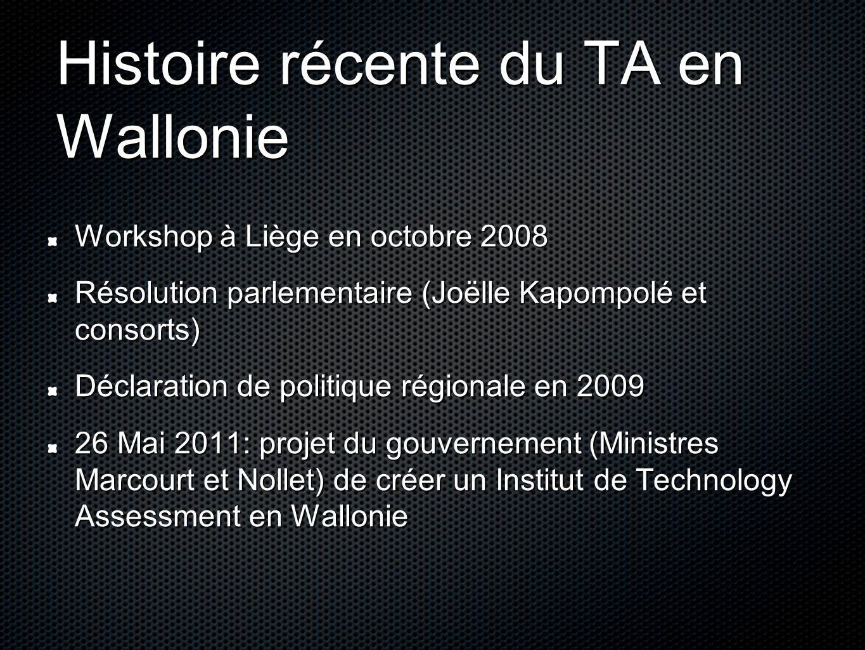 Histoire récente du TA en Wallonie Workshop à Liège en octobre 2008 Résolution parlementaire (Joëlle Kapompolé et consorts) Déclaration de politique régionale en 2009 26 Mai 2011: projet du gouvernement (Ministres Marcourt et Nollet) de créer un Institut de Technology Assessment en Wallonie