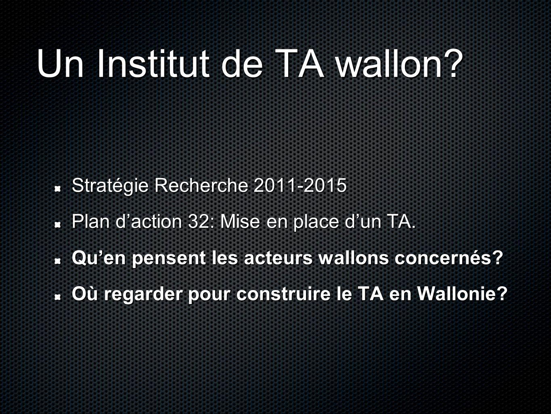 Un Institut de TA wallon. Stratégie Recherche 2011-2015 Plan daction 32: Mise en place dun TA.