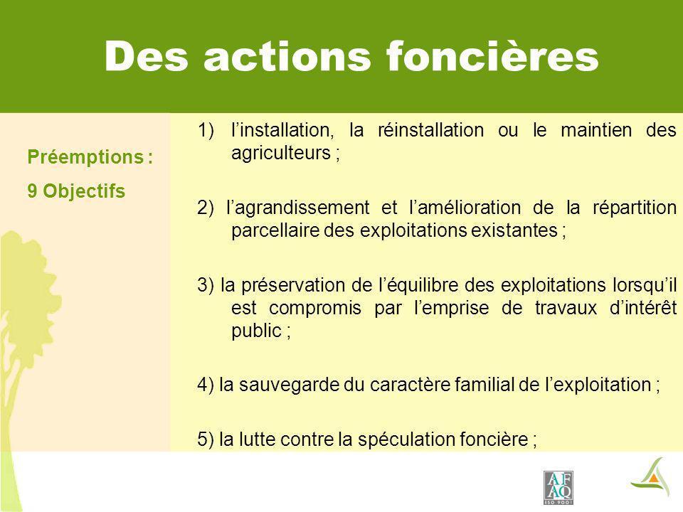 Des actions foncières Préemptions : 9 Objectifs 1)linstallation, la réinstallation ou le maintien des agriculteurs ; 2) lagrandissement et laméliorati