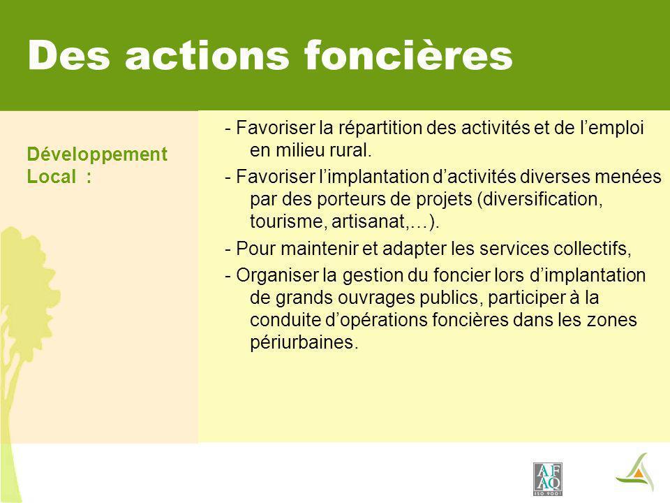 Des actions foncières Développement Local : - Favoriser la répartition des activités et de lemploi en milieu rural. - Favoriser limplantation dactivit