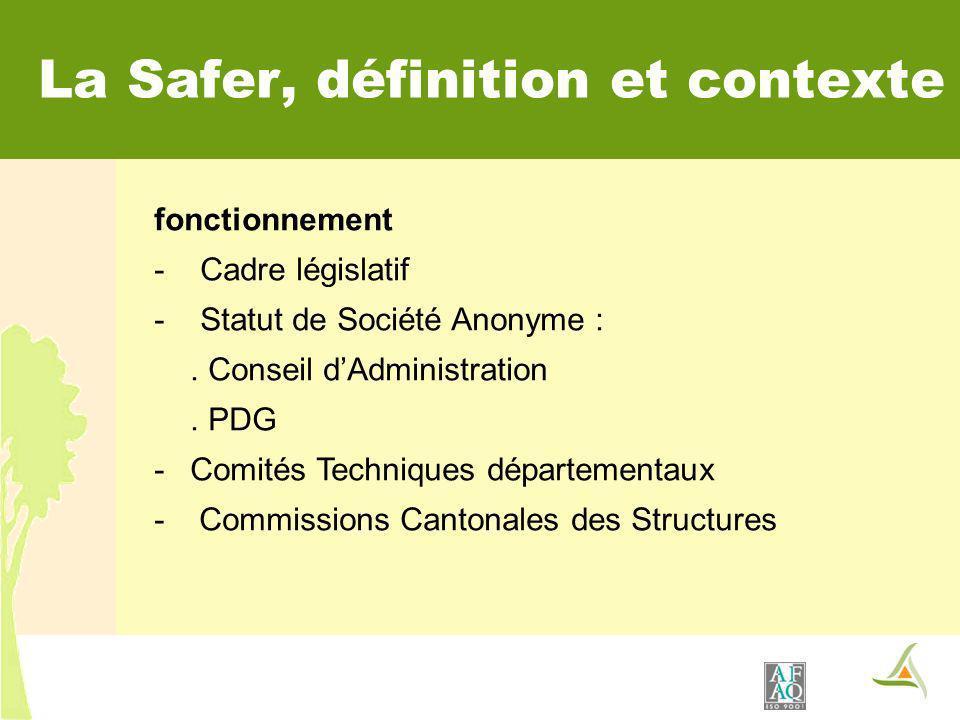 fonctionnement - Cadre législatif - Statut de Société Anonyme :. Conseil dAdministration. PDG -Comités Techniques départementaux - Commissions Cantona