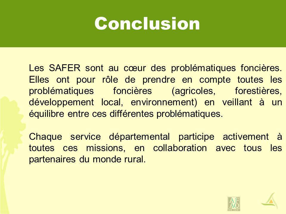 Conclusion Les SAFER sont au cœur des problématiques foncières. Elles ont pour rôle de prendre en compte toutes les problématiques foncières (agricole