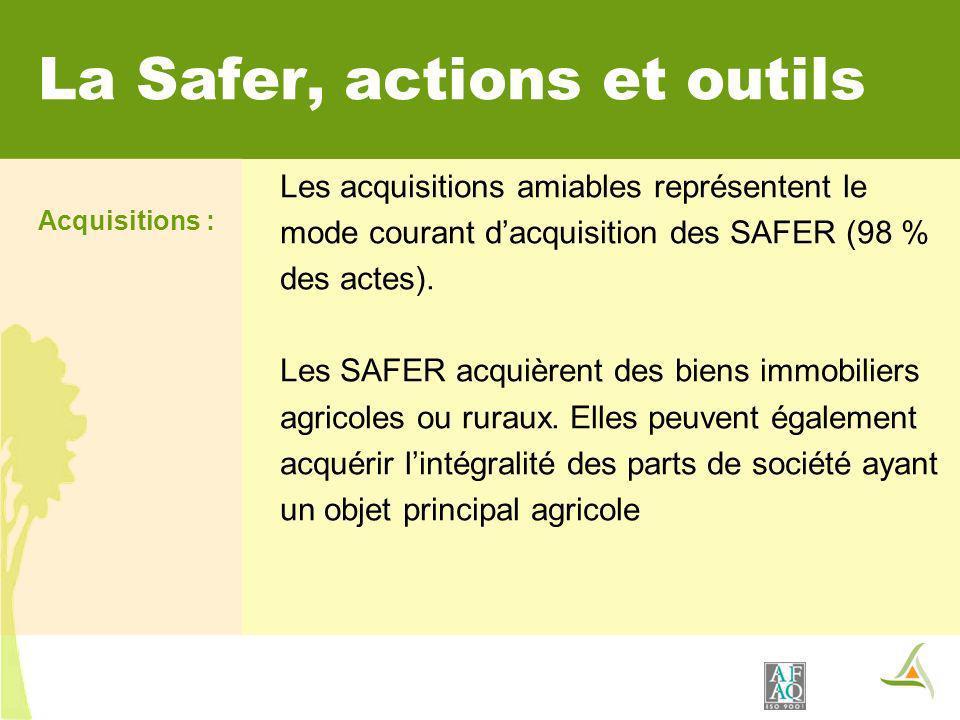 La Safer, actions et outils Les acquisitions amiables représentent le mode courant dacquisition des SAFER (98 % des actes). Les SAFER acquièrent des b