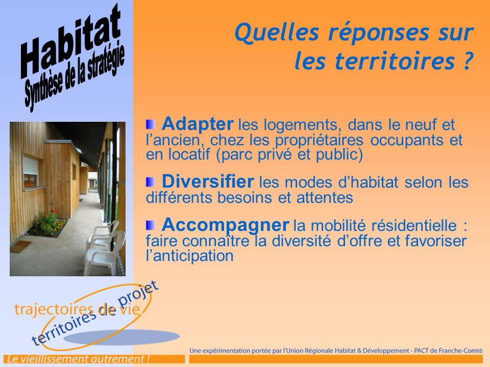 Adapter les logements, dans le neuf et lancien, chez les propriétaires occupants et en locatif (parc privé et public) Diversifier les modes dhabitat s