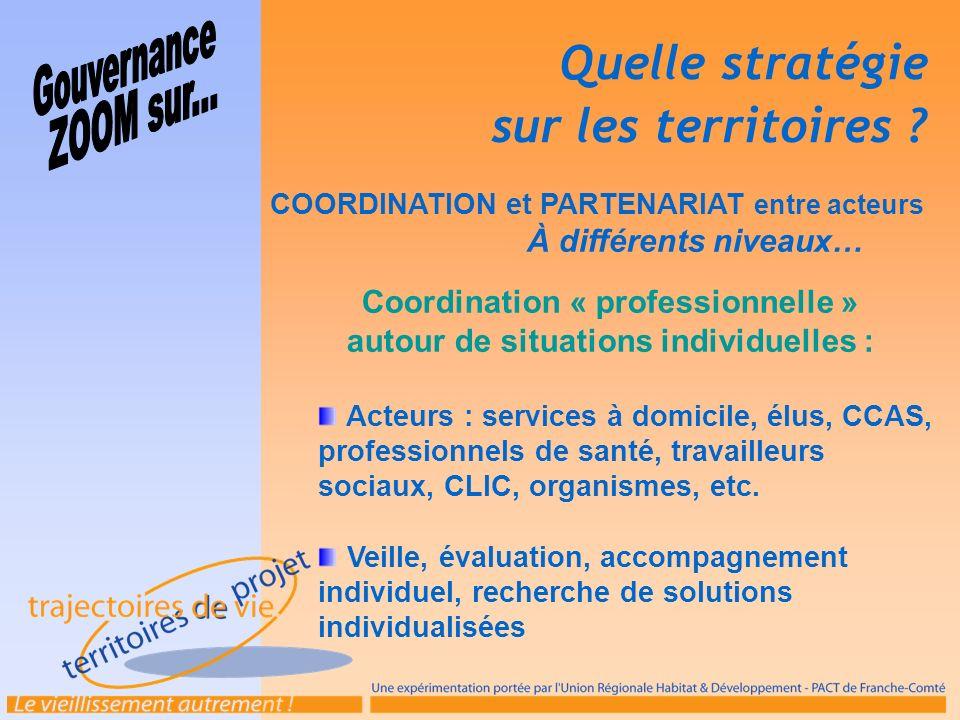 COORDINATION et PARTENARIAT entre acteurs À différents niveaux… Coordination « professionnelle » autour de situations individuelles : Acteurs : servic