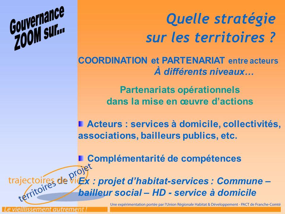 COORDINATION et PARTENARIAT entre acteurs À différents niveaux… Partenariats opérationnels dans la mise en œuvre dactions Acteurs : services à domicil