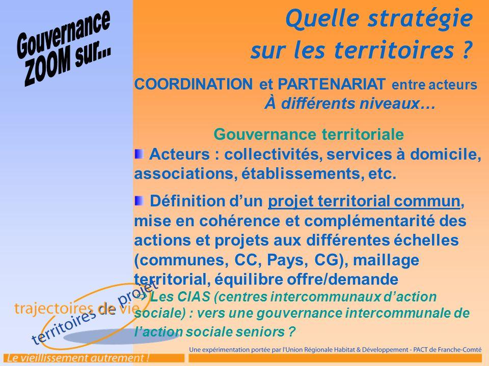 COORDINATION et PARTENARIAT entre acteurs À différents niveaux… Gouvernance territoriale Acteurs : collectivités, services à domicile, associations, é
