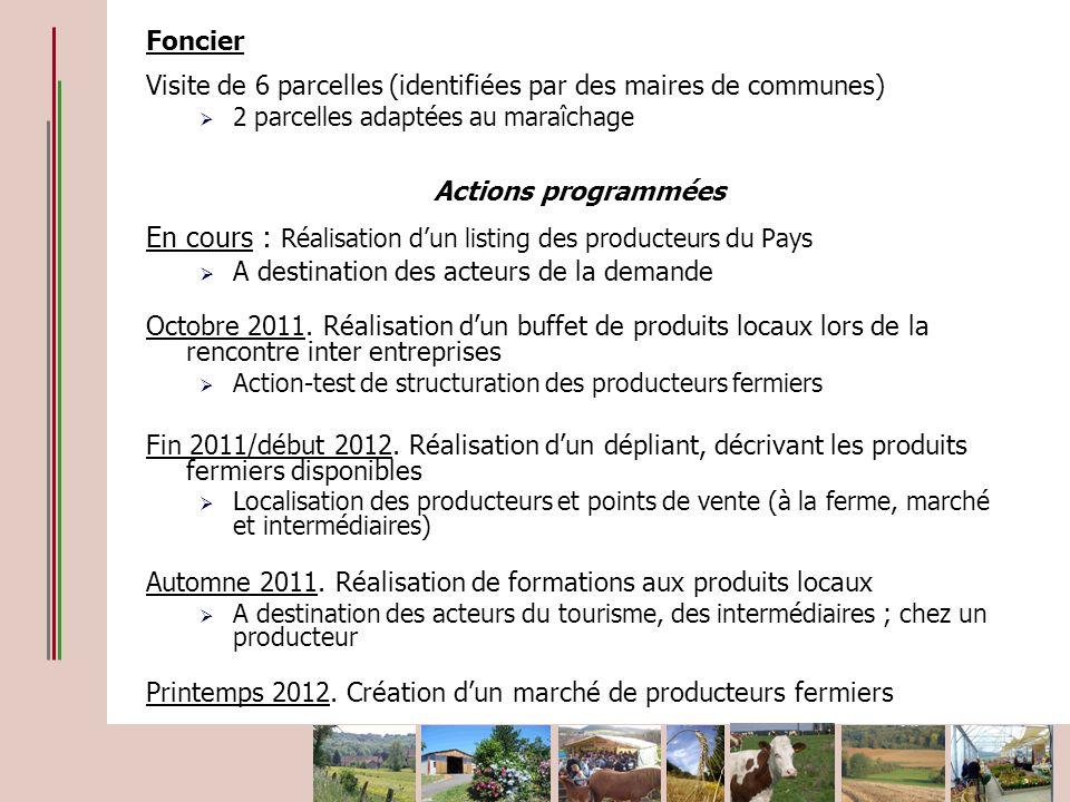 Foncier Visite de 6 parcelles (identifiées par des maires de communes) 2 parcelles adaptées au maraîchage Actions programmées En cours : Réalisation d