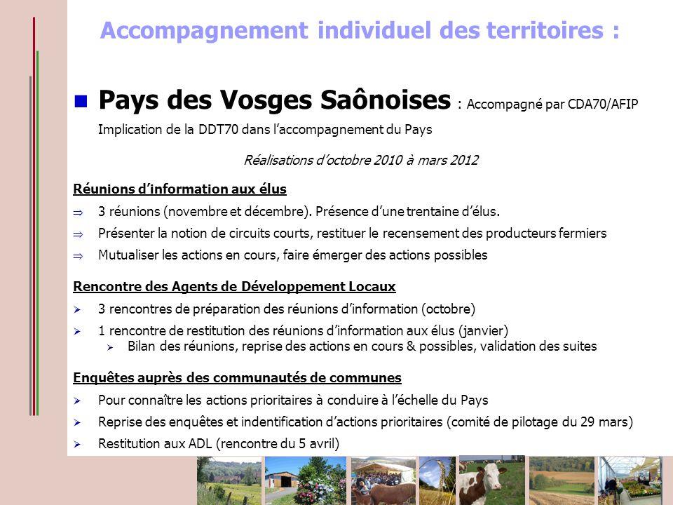 Accompagnement individuel des territoires : Pays des Vosges Saônoises : Accompagné par CDA70/AFIP Implication de la DDT70 dans laccompagnement du Pays Réalisations doctobre 2010 à mars 2012 Réunions dinformation aux élus 3 réunions (novembre et décembre).