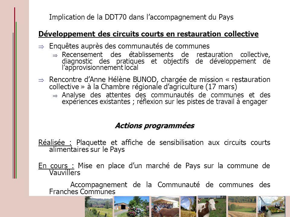 Implication de la DDT70 dans laccompagnement du Pays Développement des circuits courts en restauration collective Enquêtes auprès des communautés de c