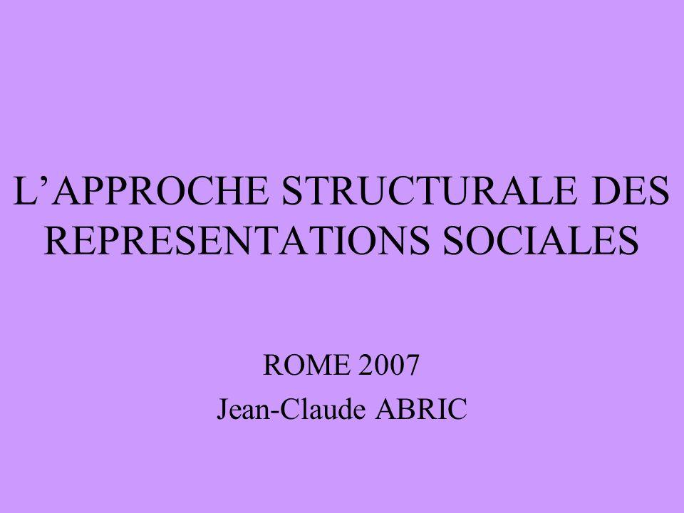 LAPPROCHE STRUCTURALE DES REPRESENTATIONS SOCIALES ROME 2007 Jean-Claude ABRIC