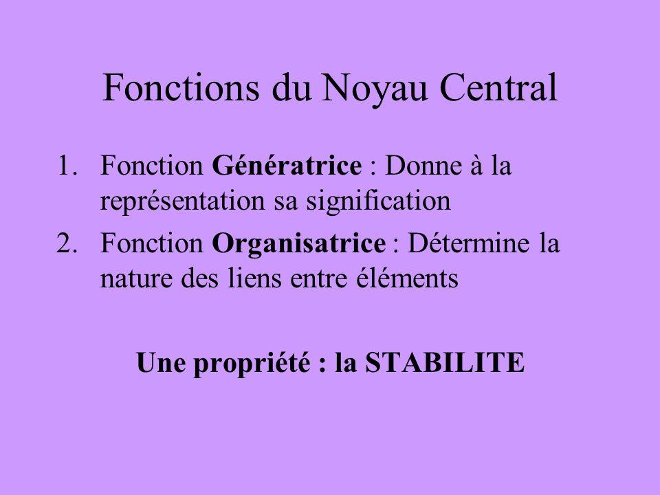 Fonctions du Noyau Central 1.Fonction Génératrice : Donne à la représentation sa signification 2.Fonction Organisatrice : Détermine la nature des lien