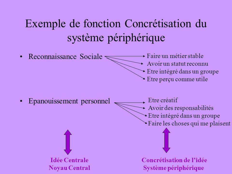 Exemple de fonction Concrétisation du système périphérique Reconnaissance Sociale Epanouissement personnel Faire un métier stable Avoir un statut reco
