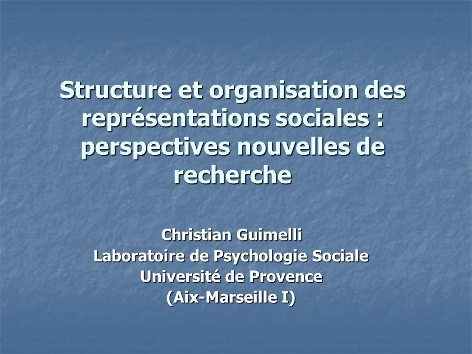 Structure et organisation des représentations sociales : perspectives nouvelles de recherche Christian Guimelli Christian Guimelli Laboratoire de Psyc
