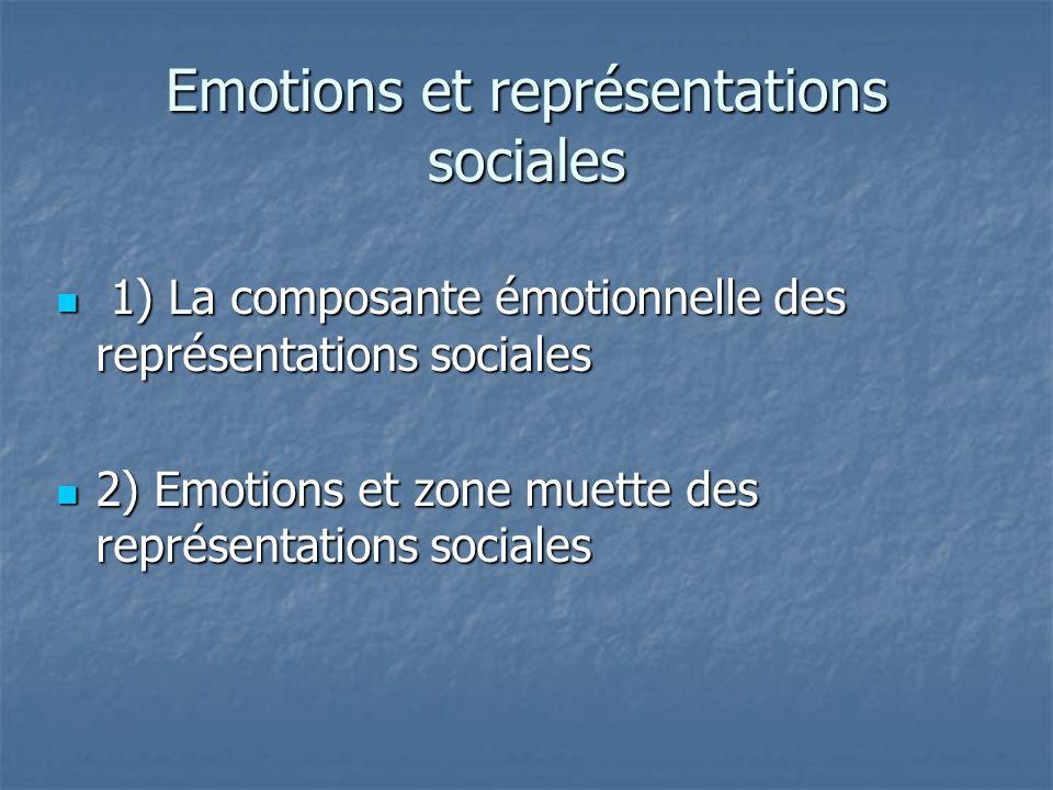 Emotions et représentations sociales 1) La composante émotionnelle des représentations sociales 1) La composante émotionnelle des représentations soci